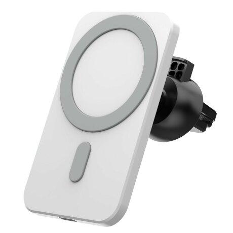 Suport auto cu incarcare Wireless rapida 15W si tehnologie MagSafe Alb