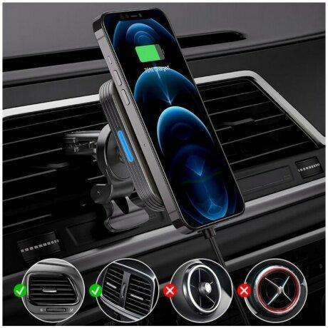 Suport auto cu incarcare Wireless rapida 15W si tehnologie MagSafe Negru