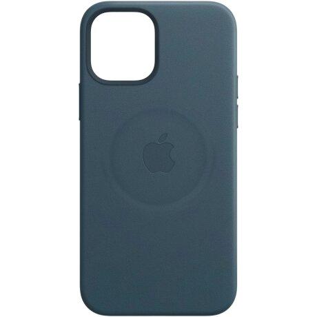 Husa de protectie din piele Apple Leather Case MagSafe pentru iPhone 12/12 Pro, Albastru Baltic Blue