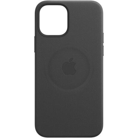 Husa de protectie din piele Apple Leather Case MagSafe pentru iPhone 12/12 Pro, Negru Black