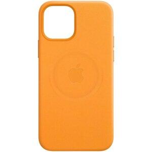 Husa de protectie din piele Apple Leather Case MagSafe pentru iPhone 12/12 Pro, Portocaliu California Poppy