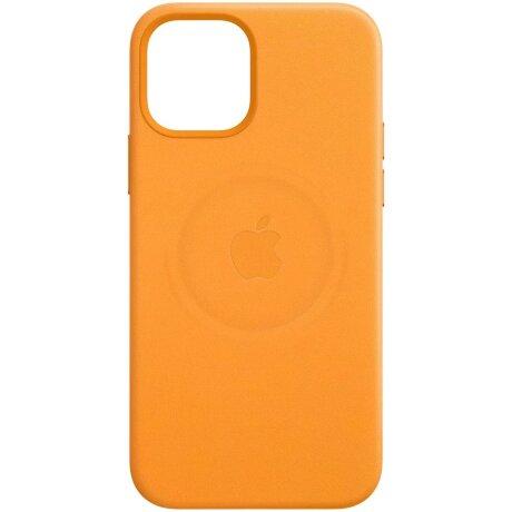 Resigilat - Husa de protectie din piele Apple Leather Case MagSafe pentru iPhone 12/12 Pro, Portocaliu California Poppy