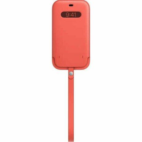 Husă originală din Piele Apple Leather Sleeve tip toc cu MagSafe pentru iPhone 12 Pro Max - Roz deschis