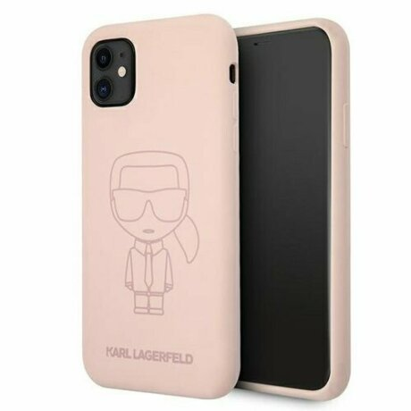 Husa Karl Lagerfeld iPhone 11 Silicone Ikonik Outline Roz