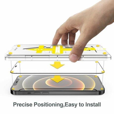 Folie de sticla 3D cu Kit de instalare pentru iPhone 12 Mini Negru Sistem de montare