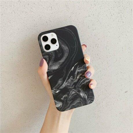 Husa de protectie Marble Negru pentru iPhone 12 Mini