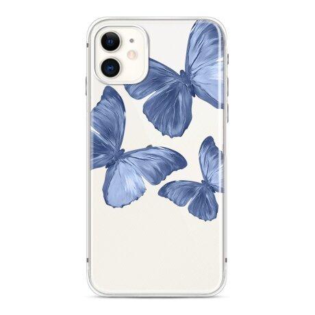 Husa de silicon cu model Fluture Albastru pentru iPhone 12 / 12 Pro