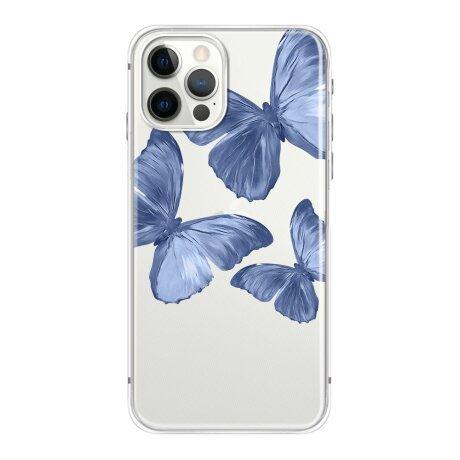 Husa de silicon cu model Fluture Albastru pentru iPhone X / XS