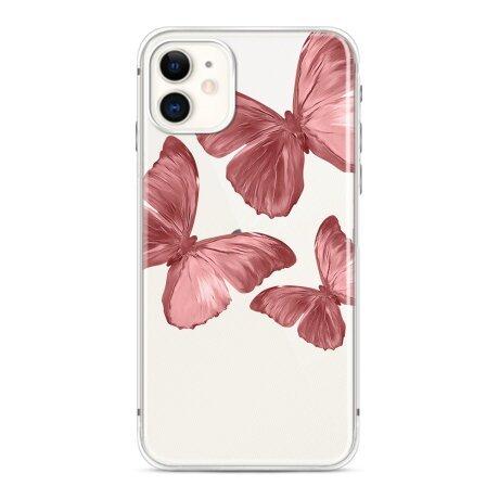 Husa de silicon cu model Fluture Roz pentru iPhone 12 Pro Max