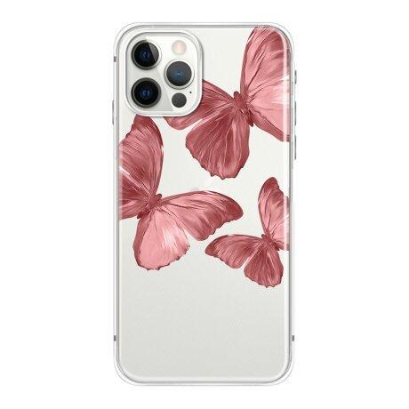 Husa de silicon cu model Fluture Roz pentru iPhone 7 / 8 / SE2020