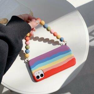 Husa din silicon Rainbow cu suport fancy pentru iPhone 7 / 8 / SE2020