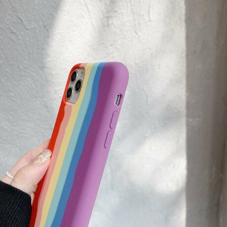 Husa din silicon Rainbow cu suport fancy pentru iPhone X / XS
