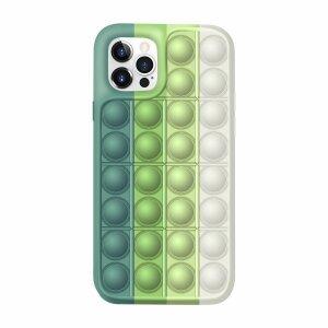Husa Anti Stres Poping Green White pentru iPhone 12 / 12 Pro