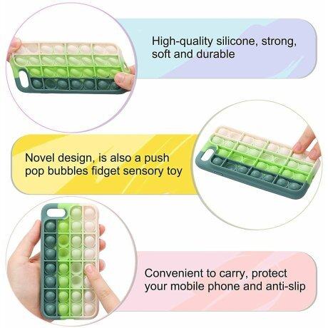 Husa Anti Stres Poping Green White pentru iPhone 7 / 8 / SE2020