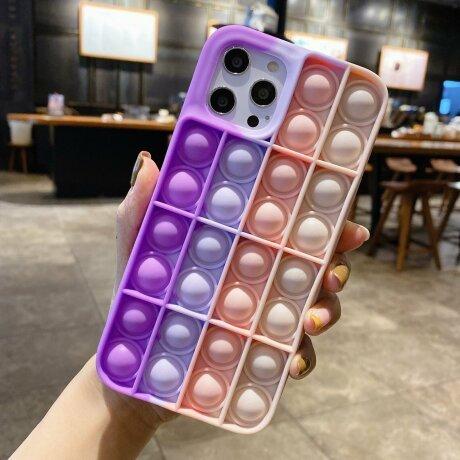 Husa Anti Stres Poping Pink Purple pentru iPhone 7 Plus / 8 Plus