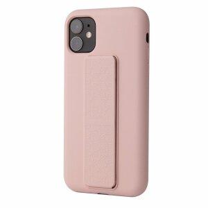 Husa de silicon pink stand cu suport selfie incorporat pentru iPhone 11 Pro Max