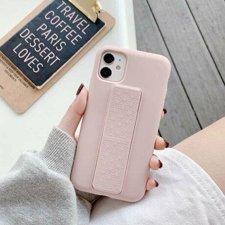 Husa de silicon pink stand cu suport selfie incorporat pentru iPhone 12 / 12 Pro