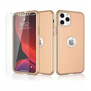Husa 360 GKK Full Cover cu folie de sticla pentru iPhone 11 Pro Max Auriu - Gold