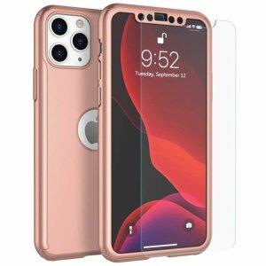 Husa 360 GKK Full Cover cu folie de sticla pentru iPhone 11 Pro Roz - Rose Gold