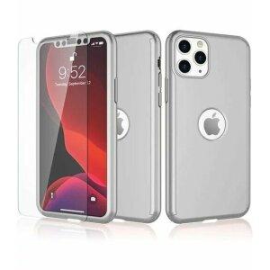 Husa 360 GKK Full Cover cu folie de sticla pentru iPhone 12/12 Pro Gri - Silver