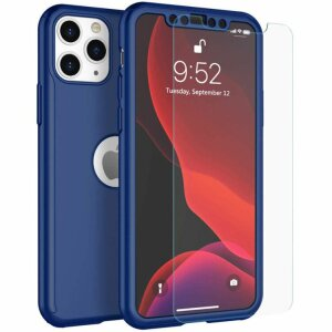 Husa 360 GKK Full Cover cu folie de sticla pentru iPhone X/XS Albastru - Blue
