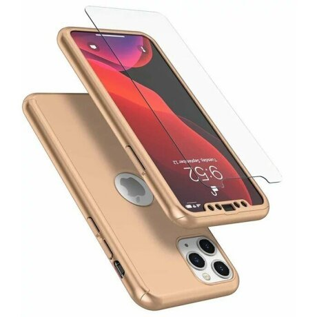 Husa 360 GKK Full Cover cu folie de sticla pentru iPhone X/XS Auriu - Gold