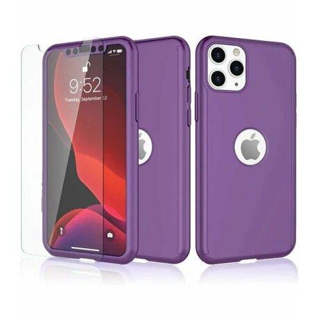 Husa 360 GKK Full Cover cu folie de sticla pentru iPhone 11 Pro Mov - Purple