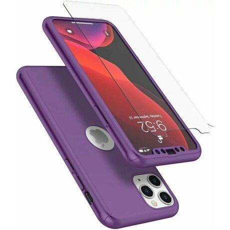 Husa 360 GKK Full Cover cu folie de sticla pentru iPhone 7/ 8/ SE2020 Mov - Purple