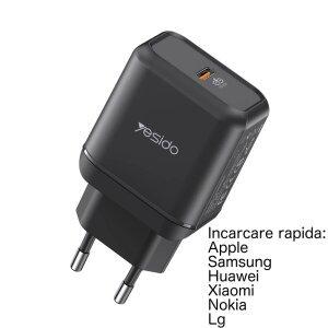Incarcator priza 25w Yesido YC29 cu incarcare rapida FAST CHARGE Type C Negru USB C