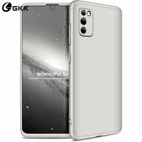 Husa 360 GKK Full Cover cu folie de sticla pentru Samsung Galaxy A41 Gri - Silver