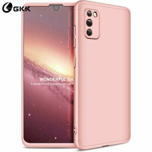 Husa 360 GKK Full Cover cu folie de sticla pentru Samsung Galaxy A41 Roz - Rose Gold