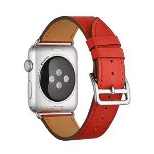 Curea / Bratara Originala  Apple Watch Leather/ Piele 42-44mm Band: Berry - Resigilat