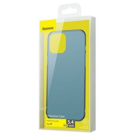 Husa Baseus Frosted Glass Case Hard case with a flexible frame iPhone 12 Mini Navy Blue