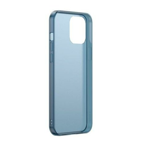 Husa Baseus Frosted Glass Case Hard case with a flexible frame iPhone 12 Pro Max Navy blue
