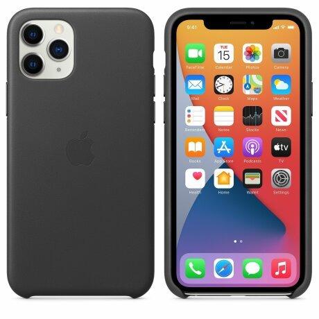 Husa de Piele Apple iPhone 11 Pro Leather Case Black