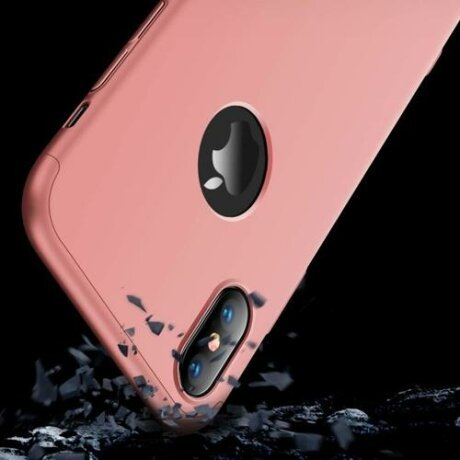 Husa GKK 360 Protection Case Front and Back Case Full Body Cover iPhone XS Max Roz