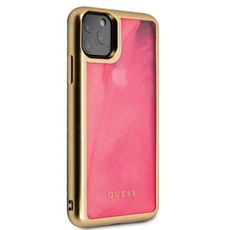 Husa GUESS HARD CASE SAND MATTE GLOW IN THE DARK IPHONE 11 PRO PINK