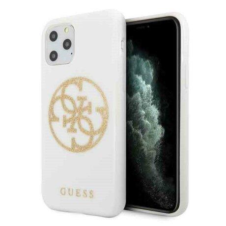Husa Guess iPhone 11 Pro white hard case Glitter 4G Circle Logo Guess