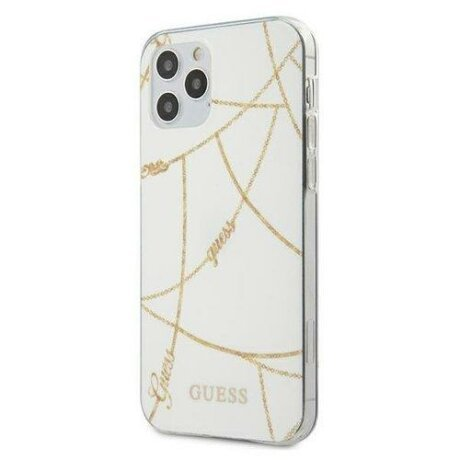 Husa Guess iPhone 12 , 12 Pro alb Gold Chain