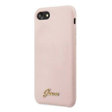 Husa Guess Phone 7/8/SE 2020 pink Silicone Vintage Gold Logo
