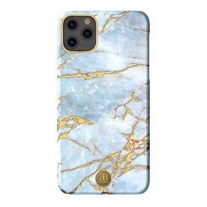 Husa iPhone 11 Kingxbar Marble Series Design Marmura Placa metalica  Alb/Albastru