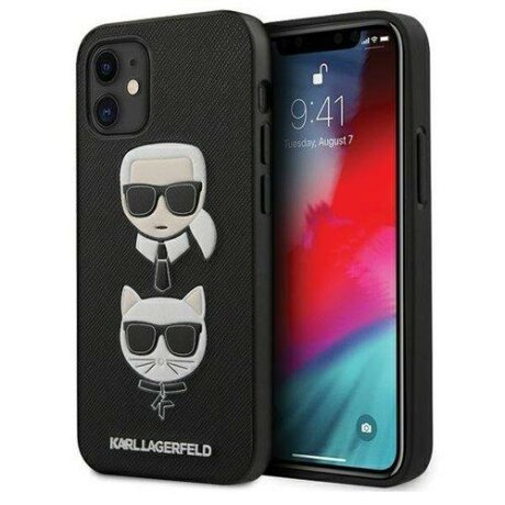 "Husa Karl Lagerfeld iPhone 12 mini 5,4"" black hardcase Saffiano Ikonik Karl&Choupette Head"