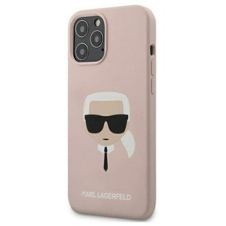 "Husa Karl Lagerfeld  iPhone 12 mini 5,4"" light pink hardcase Silicone Karl`s Head"