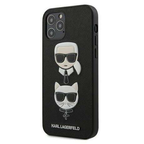 "Husa Karl Lagerfeld  iPhone 12/12 Pro 6,1"" black hardcase Saffiano Ikonik Karl&Choupette Head"
