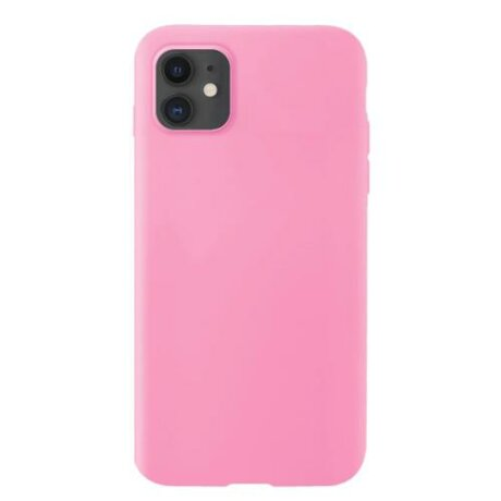 Husa Silicone  Soft Flexible Rubber Cover pentru iPhone 11 roz