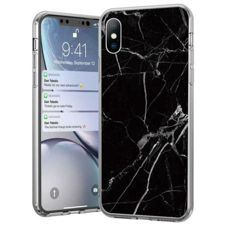Husa Wozinsky Marble TPU case cover for iPhone 8 Plus / iPhone 7 Plus black