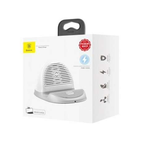 Incarcator Retea Wireless Baseus Horizontal Quick Charge Cu Suport Antiderapant Si Ventilator Incorporat