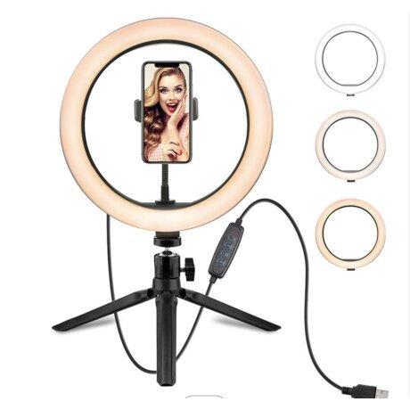 Lampa circulara de masa Ring Light ,  3 trepte lumina, mini trepied inclus + suport pentru telefon. Studio Live
