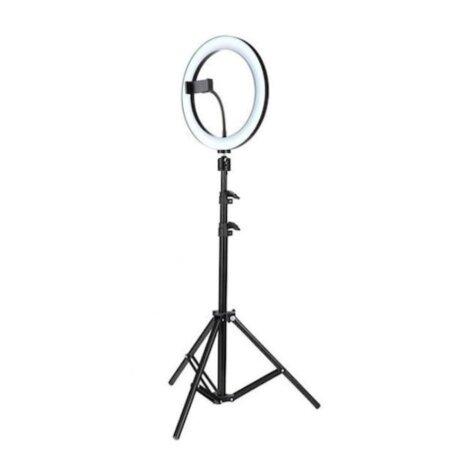 Lampa circulara fotografica Ring Light, 120 x LED SMD, 10 trepte de lumina (lumina rece, calda si neutra) Photo / video / MakeUp cu trepied 210cm inclus - Studio Live