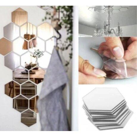 Set oglinzi hexagonale decorative , argintiu , 18x16 cm - super design